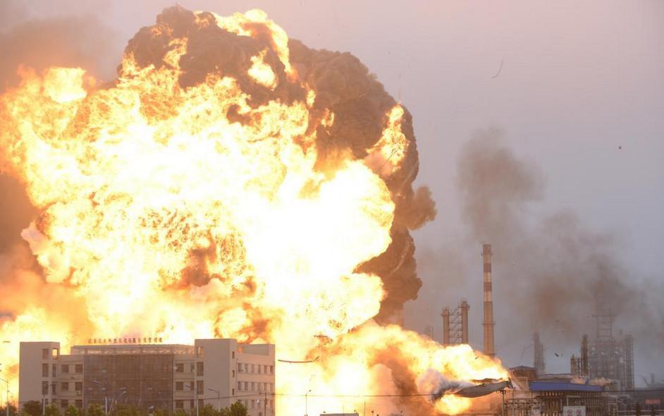 山东日照一液化氢罐泄露燃烧 现场腾起蘑菇云