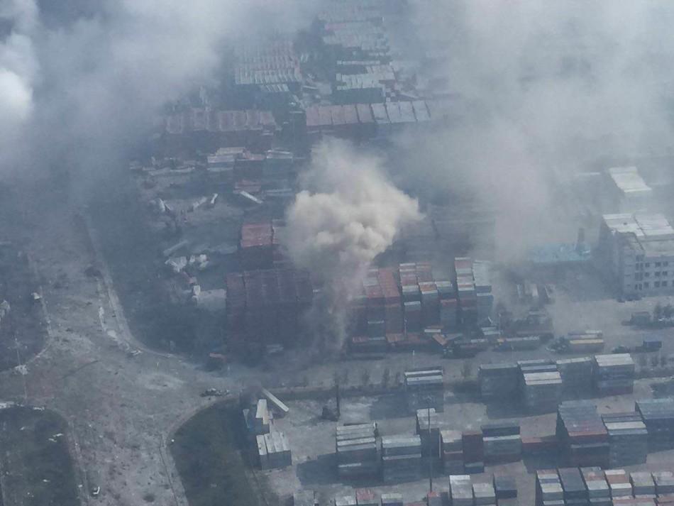 8月13日从爆炸地点附近的高层拍摄的现场2。