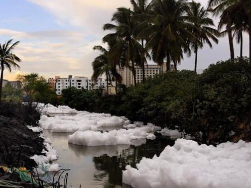 印度一湖泊遭工业污染溢出有毒泡沫