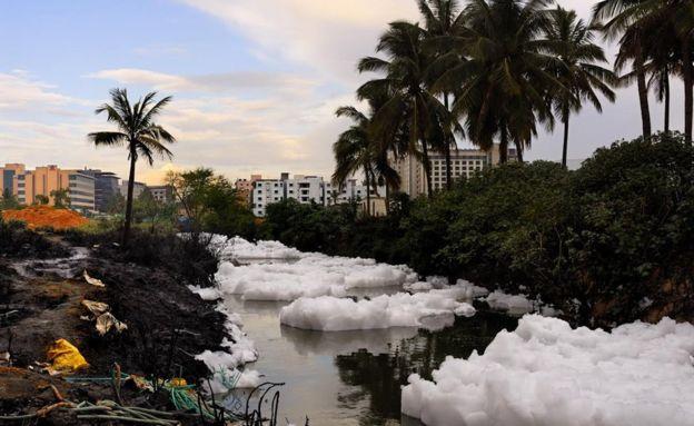 9月28日报道,地处热带的印度南部城市班加罗尔湖泊溢出了看起来像雪的东西,其实这些是有毒泡沫。据悉,多年来,印度的贝兰杜尔湖已经被工厂排放的污水和化学物严重污染。
