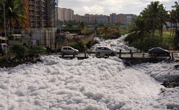 多年来,印度的贝兰杜尔湖已经被工厂排放的污水和化学物严重污染。今年5月份,湖水中的油和磷形成了易燃的混合物,造成了火焰之湖的景象。